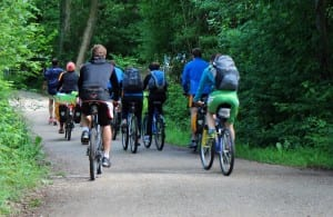 Bicyclists ride the hills