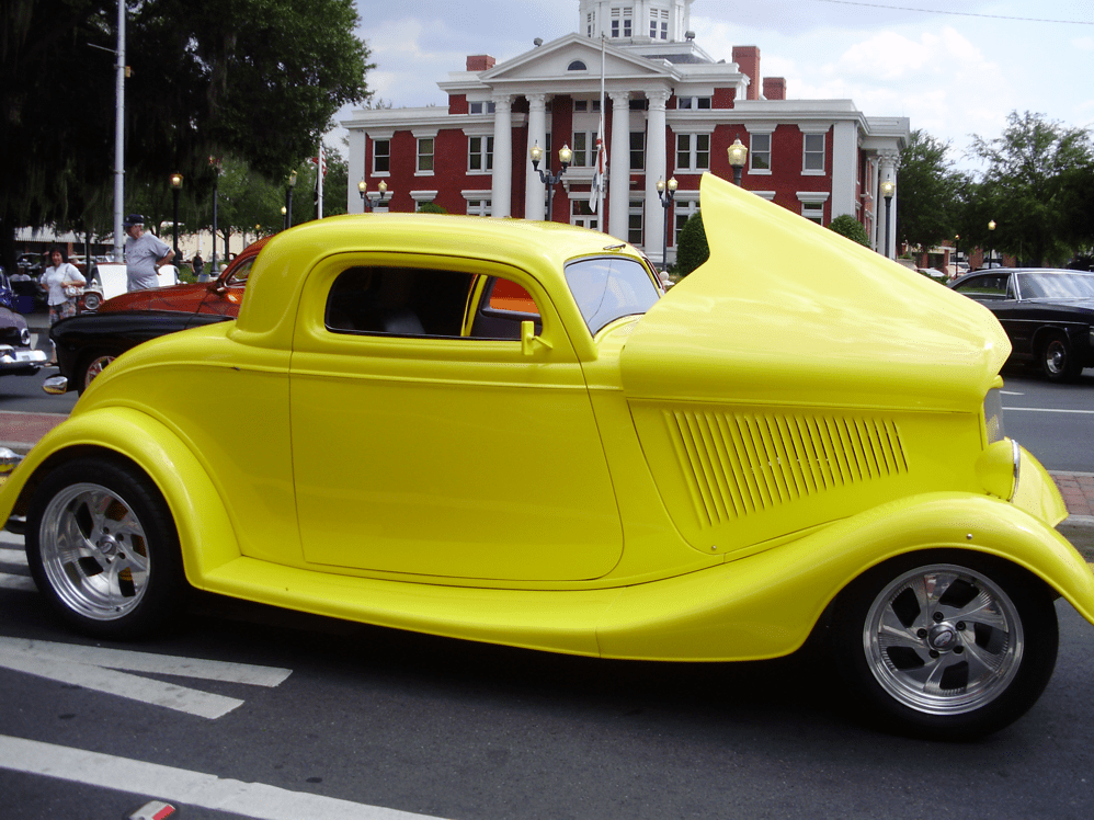 The Dade City Cruise In, held monthly on the 1st Saturday of each month, from 2-7 PM, around the Historic Pasco County Courthouse. Photo courtesy of Melody Floyd.